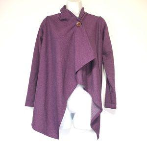 Bobeau Purple Knit Drape Waterfall Cardigan XS